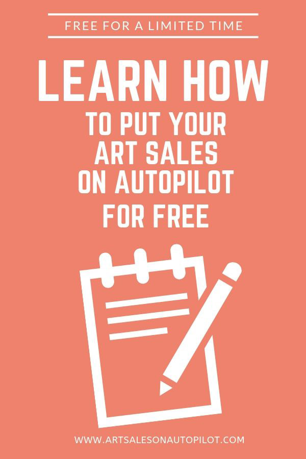 "Limited time offer: Learn how to sell art passively online with this FREE step-by-step video course called ""Art Sales on Autopilot: How to Sell Your Art Online 100% Passively"" It's free to new students, so check it out now! #sellartonline #howtosellartonline #passiveincome #howtosellartpassively"